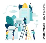 vector business illustration on ... | Shutterstock .eps vector #1075436348