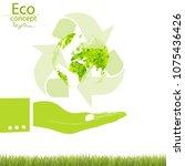environmentally friendly world. ... | Shutterstock .eps vector #1075436426