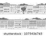 two hand drawn seamless city... | Shutterstock .eps vector #1075436765