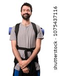 happy handsome backpacker on... | Shutterstock . vector #1075437116