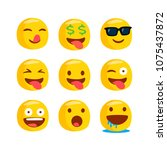 set of funny classic emojis....   Shutterstock .eps vector #1075437872