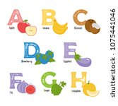fruits and vegetables alphabet. ... | Shutterstock .eps vector #1075441046