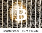bitcoin on abstract background...   Shutterstock . vector #1075443932