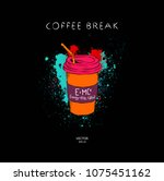 image of a cup of coffee on a... | Shutterstock .eps vector #1075451162
