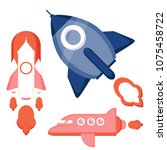 spaceflight  rocket  ship ... | Shutterstock .eps vector #1075458722