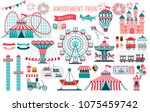 amusement park  circus and fun... | Shutterstock .eps vector #1075459742