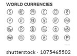 currency icons. dollar  euro ... | Shutterstock .eps vector #1075465502
