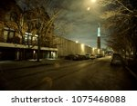 city street night scenery with... | Shutterstock . vector #1075468088