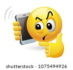 smiley talking on a phone.... | Shutterstock .eps vector #1075494926