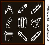 set of 9 draw outline icons... | Shutterstock .eps vector #1075500698