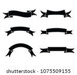 black blank ribbon banner set... | Shutterstock .eps vector #1075509155