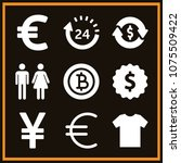 set of 9 commerce filled icons... | Shutterstock .eps vector #1075509422