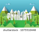cityscape and nature urban... | Shutterstock .eps vector #1075510448