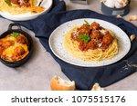 homemade spaghetti or pasta... | Shutterstock . vector #1075515176