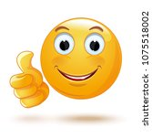 smiley thumb up. laik. cool.... | Shutterstock .eps vector #1075518002