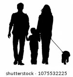 family with a dog going for a... | Shutterstock . vector #1075532225