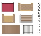set of fences  isolated on... | Shutterstock .eps vector #1075536566