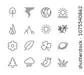 nature icon set vector. line...