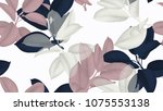 floral seamless pattern  blue ... | Shutterstock .eps vector #1075553138
