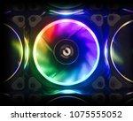 cooler of processor with neon... | Shutterstock . vector #1075555052