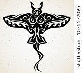 tribal tattoo with decorative... | Shutterstock .eps vector #1075572095