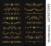 collection of golden hand drawn ... | Shutterstock .eps vector #1075572395