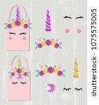 vector set with unicorn tiara ... | Shutterstock .eps vector #1075575005