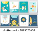set of cute space posters... | Shutterstock .eps vector #1075590638