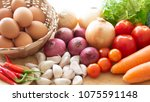 healthy food vegetables and... | Shutterstock . vector #1075591148