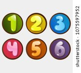 color numbers. one to six.... | Shutterstock .eps vector #1075597952