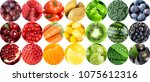 collection of fruits and... | Shutterstock . vector #1075612316