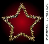 gold star on a red background.   Shutterstock .eps vector #1075614698