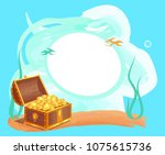 photo frame with gold coins in...   Shutterstock .eps vector #1075615736