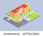 school area isolated 3d vector... | Shutterstock .eps vector #1075615862