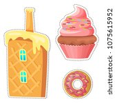 cartoon sweets stickers or... | Shutterstock .eps vector #1075615952