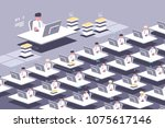 large group of employees.... | Shutterstock .eps vector #1075617146