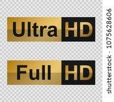 golden full hd and ultra hd... | Shutterstock .eps vector #1075628606