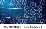 blockchain neon outline concept ... | Shutterstock . vector #1075642235