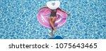 3d rendering. woman swimming on ...   Shutterstock . vector #1075643465