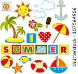 summer set of stickers made of... | Shutterstock .eps vector #107564906
