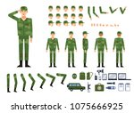 Soldier in military clothing creation kit. Create your own pose, action, animation. Various emotions, gestures, design elements. Flat design vector illustration - stock vector