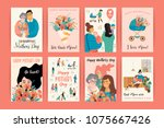 happy mothers day. vector... | Shutterstock .eps vector #1075667426
