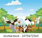 illustration of happy animal in ... | Shutterstock . vector #1075672565