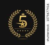 golden five stars label. laurel ...   Shutterstock . vector #1075677416