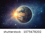 earth  sun  star and galaxy.... | Shutterstock . vector #1075678202