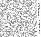 peony flower seamless pattern... | Shutterstock . vector #1075700342