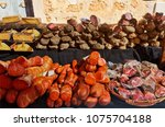 traditional sausage sobrasada... | Shutterstock . vector #1075704188