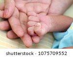 mother holding newborn baby hand | Shutterstock . vector #1075709552