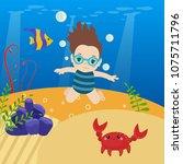 swimming little girl and sea... | Shutterstock .eps vector #1075711796
