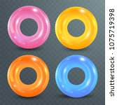 swim rings set on transparent... | Shutterstock .eps vector #1075719398